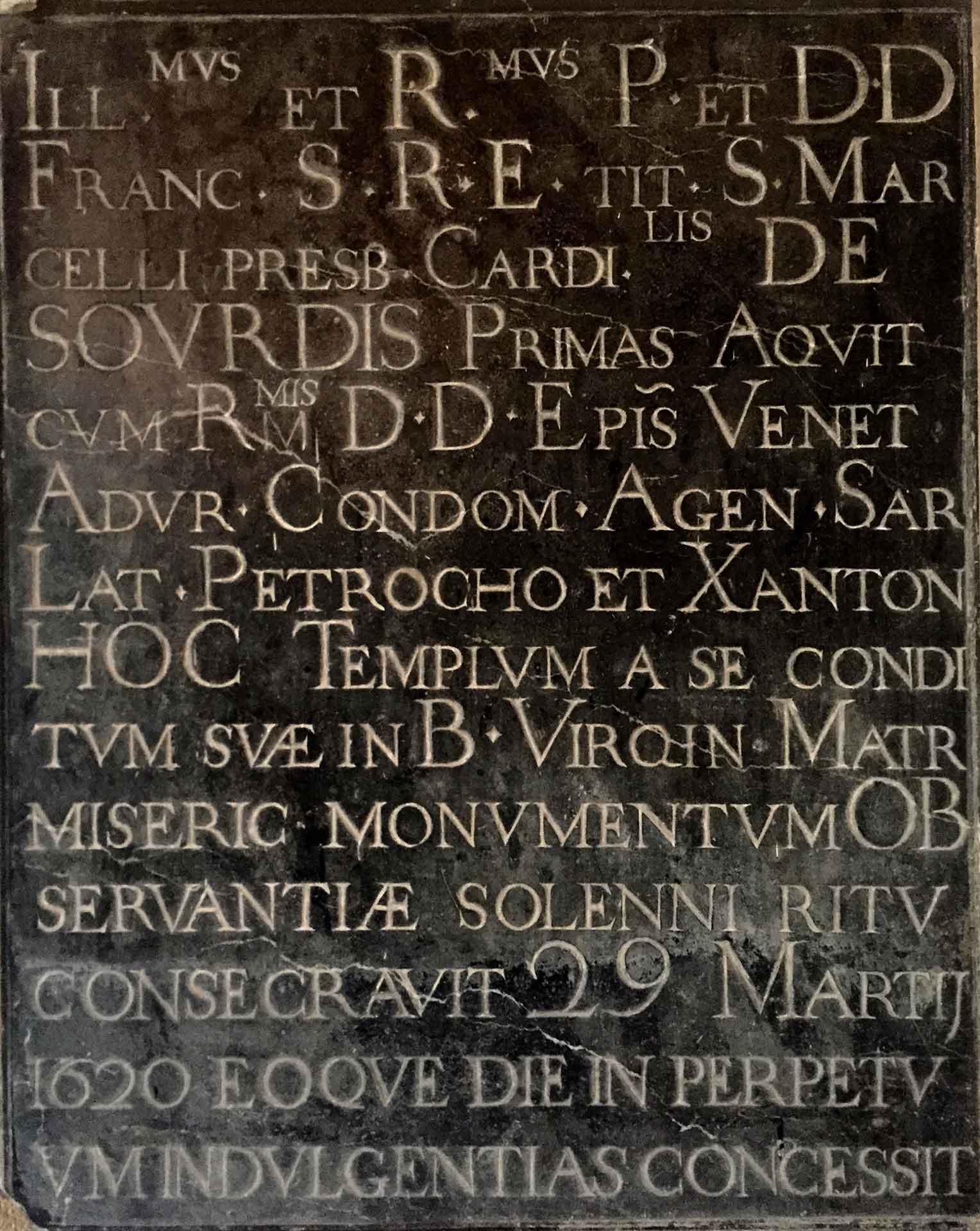 Plaque de consécration de l'église Saint-Bruno